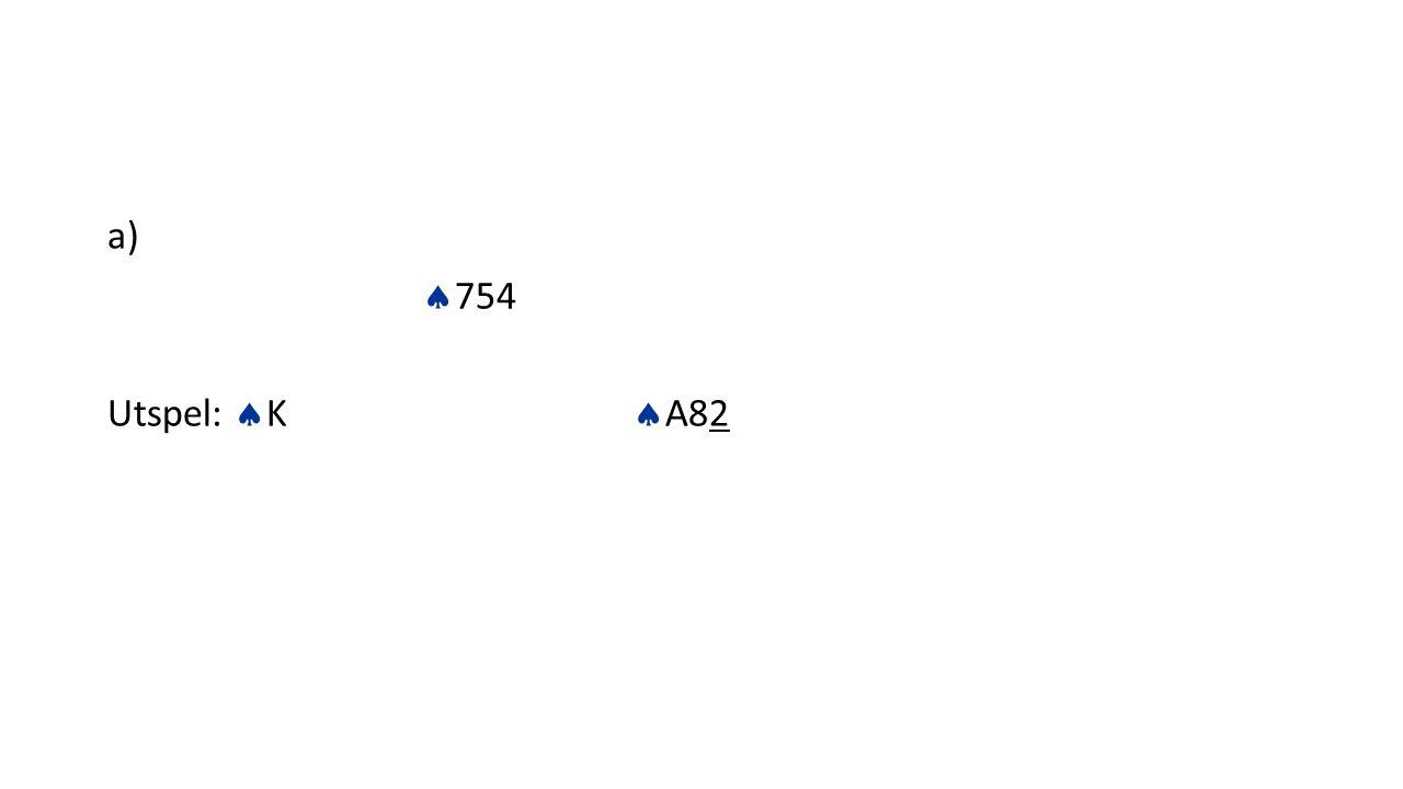 a) 754 Utspel: K A82
