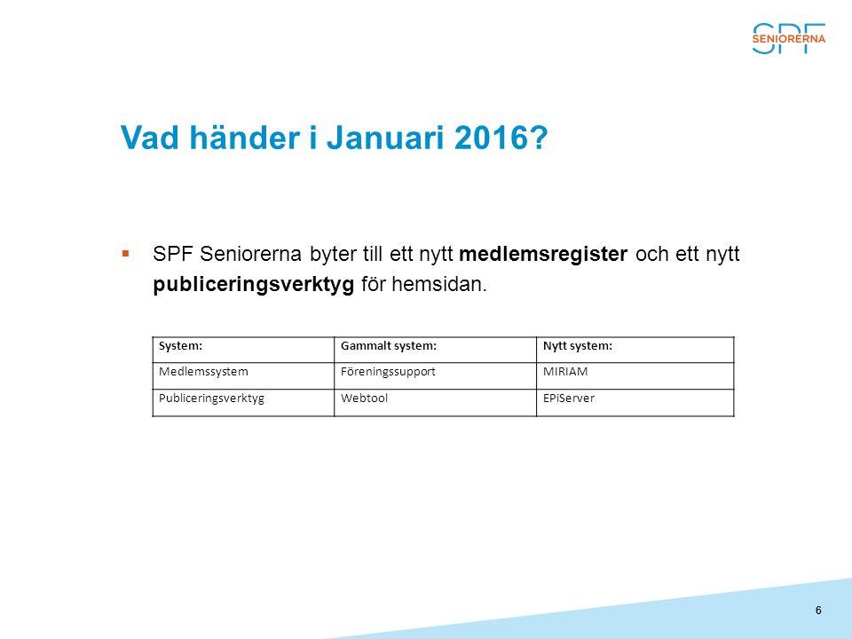 Vad händer i Januari 2016 SPF Seniorerna byter till ett nytt medlemsregister och ett nytt publiceringsverktyg för hemsidan.