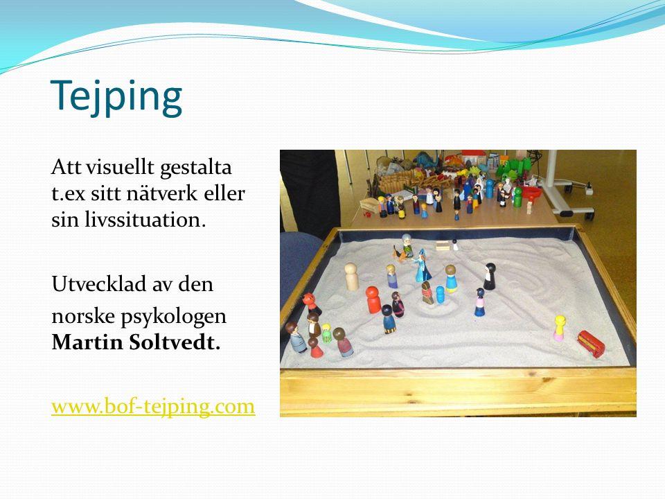 Tejping Att visuellt gestalta t.ex sitt nätverk eller sin livssituation. Utvecklad av den. norske psykologen Martin Soltvedt.