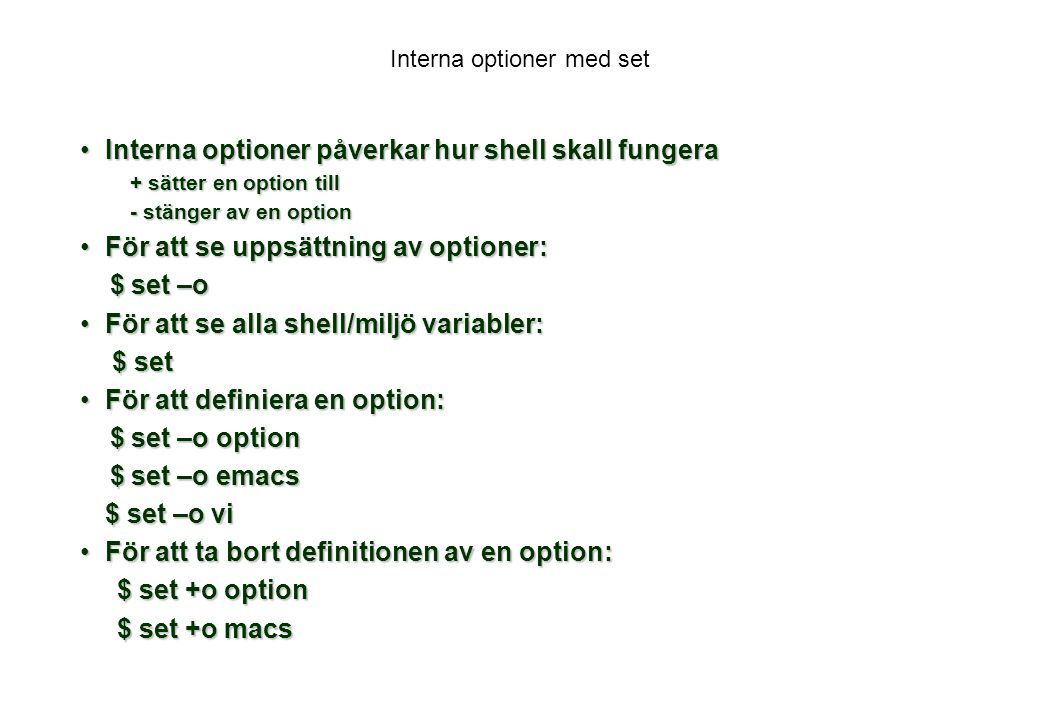 Interna optioner med set