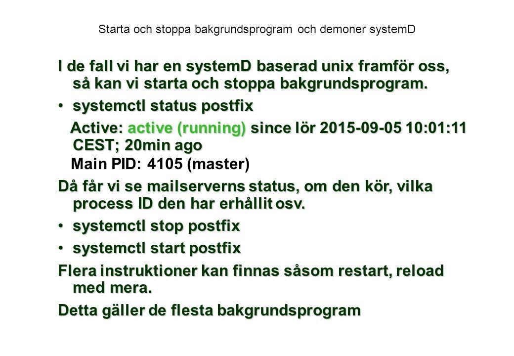 Starta och stoppa bakgrundsprogram och demoner systemD
