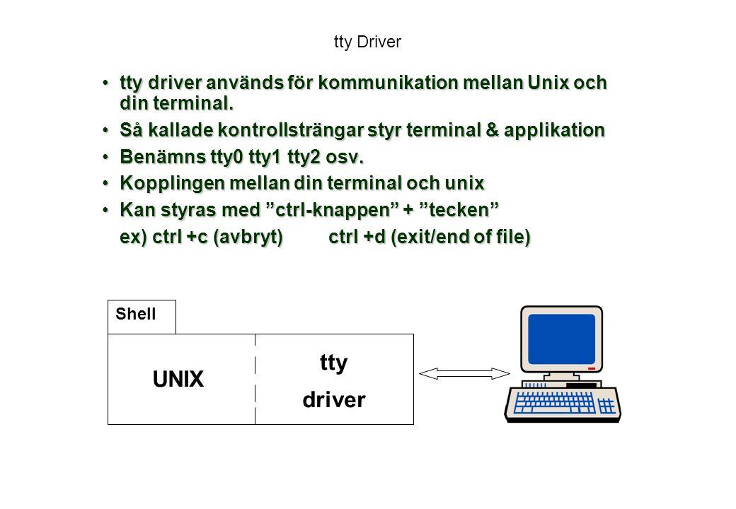 tty Driver tty driver används för kommunikation mellan Unix och din terminal. Så kallade kontrollsträngar styr terminal & applikation.