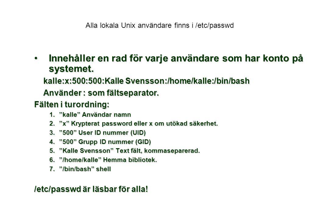 Alla lokala Unix användare finns i /etc/passwd