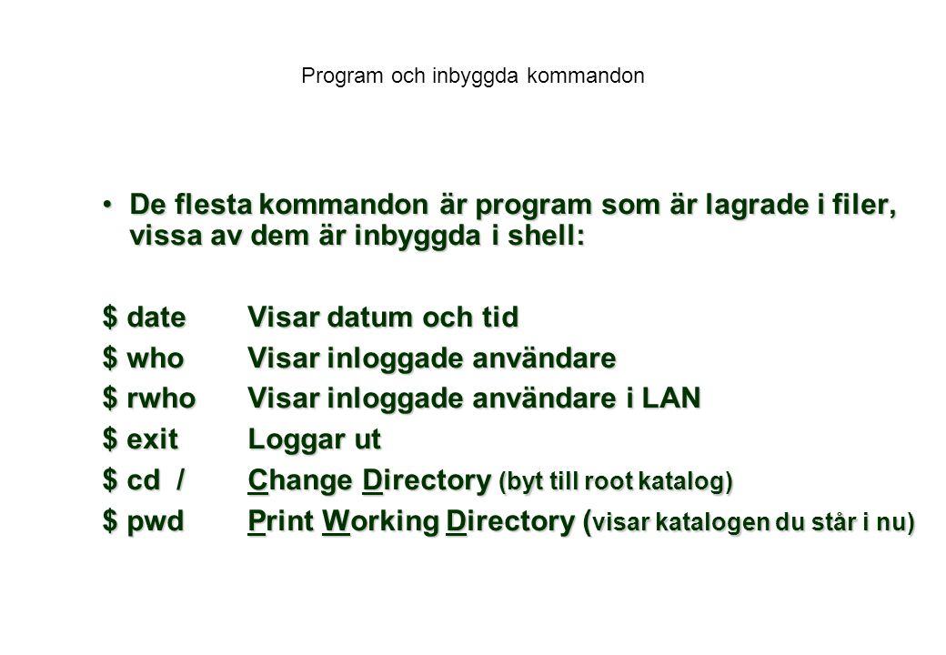 Program och inbyggda kommandon