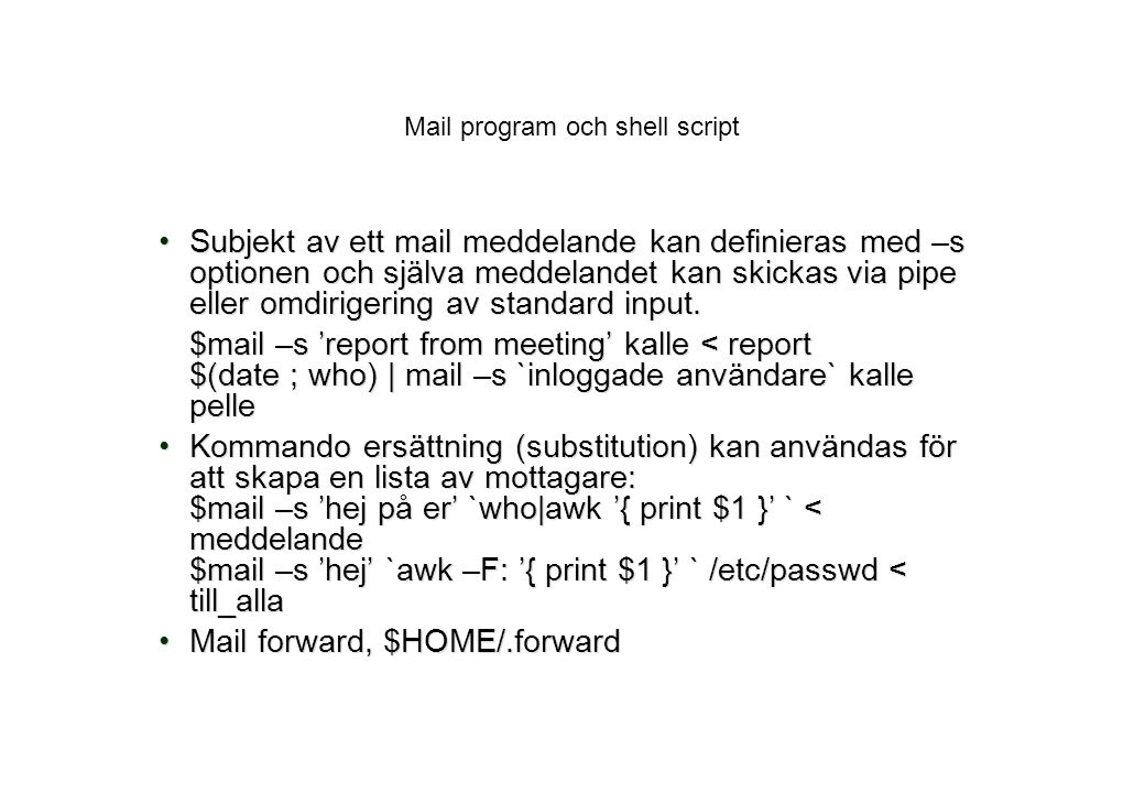 Mail program och shell script