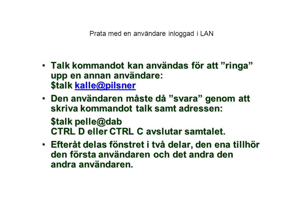 Prata med en användare inloggad i LAN