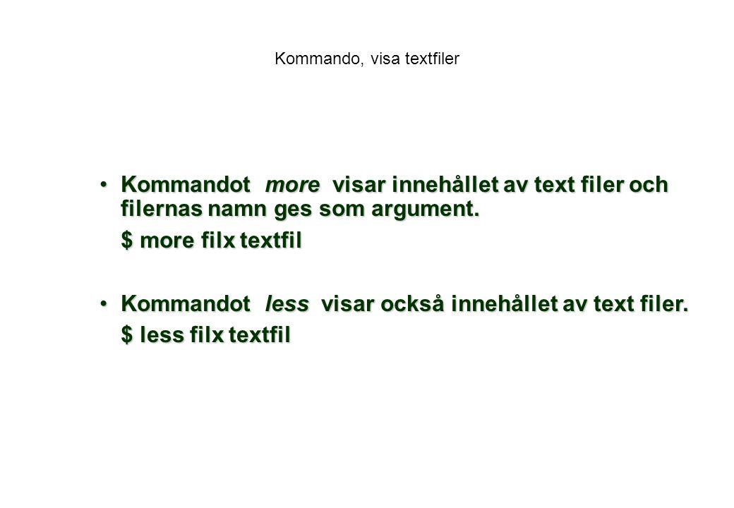 Kommando, visa textfiler
