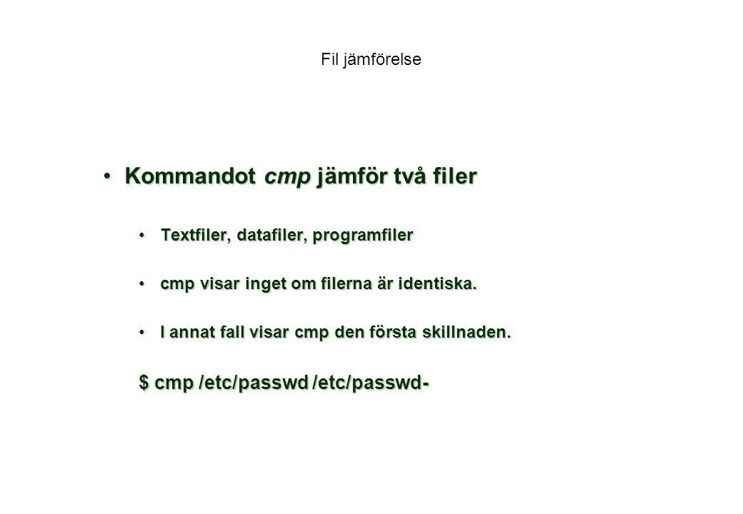 Kommandot cmp jämför två filer