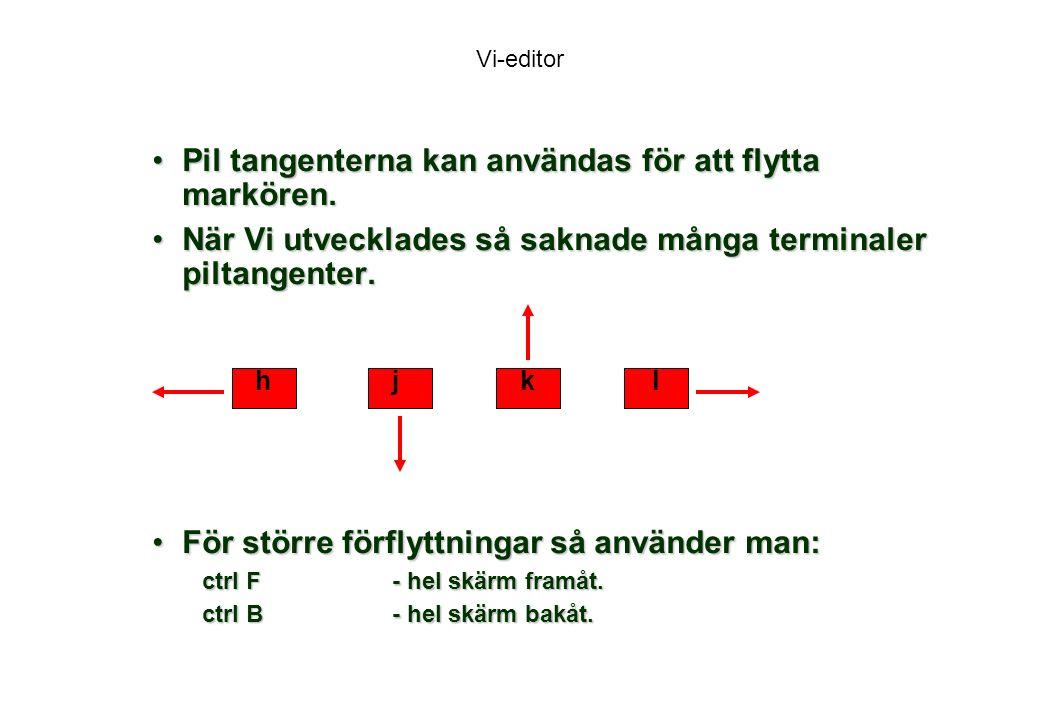 Pil tangenterna kan användas för att flytta markören.