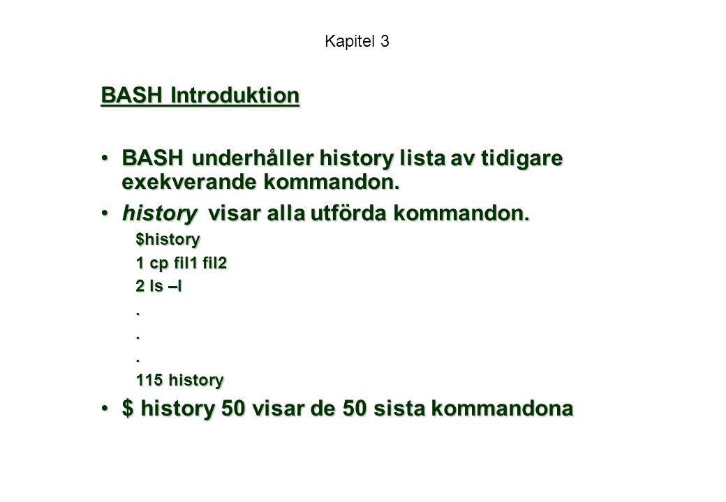 BASH underhåller history lista av tidigare exekverande kommandon.