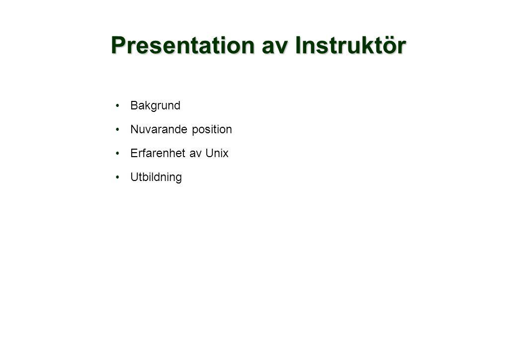 Presentation av Instruktör