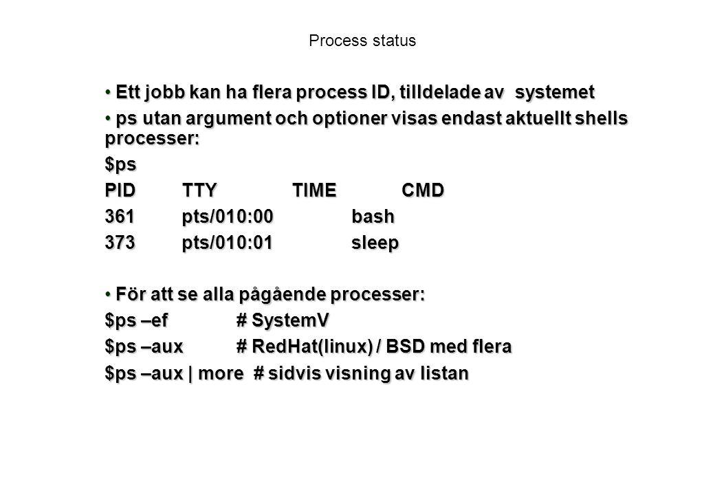 Ett jobb kan ha flera process ID, tilldelade av systemet