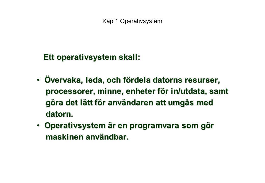 Ett operativsystem skall: