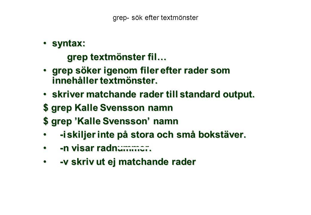 grep- sök efter textmönster