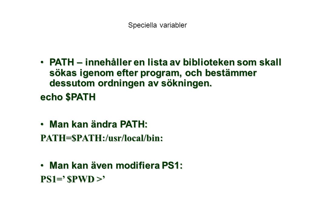 PATH=$PATH:/usr/local/bin: Man kan även modifiera PS1: