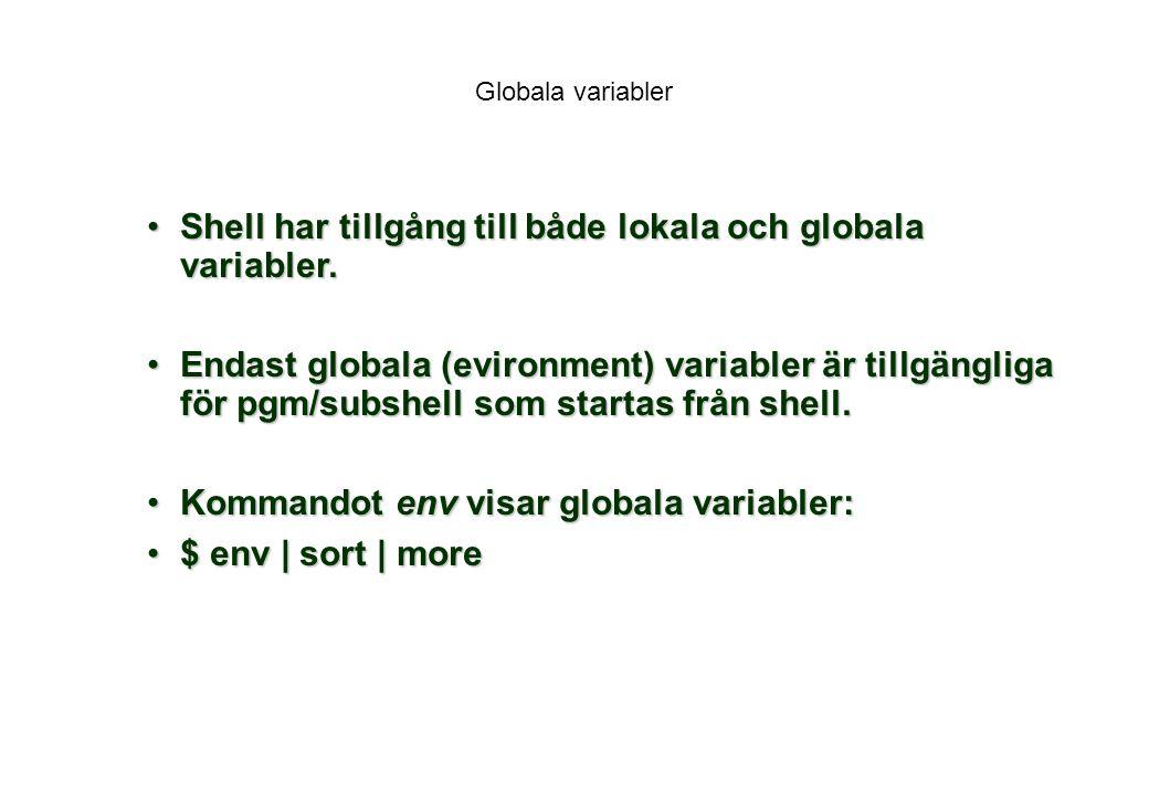 Shell har tillgång till både lokala och globala variabler.