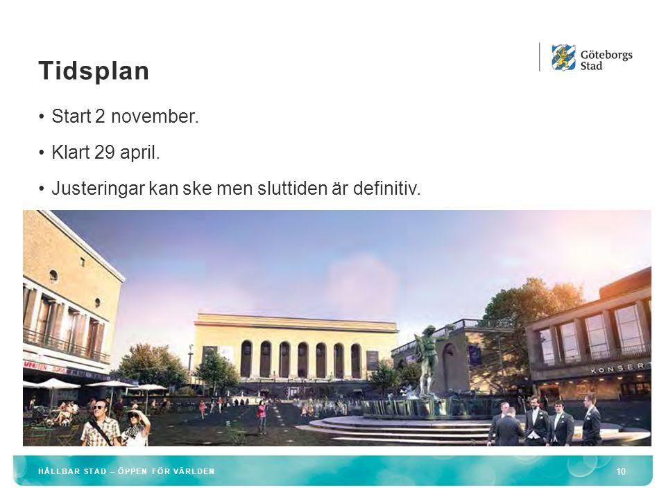 Tidsplan Start 2 november. Klart 29 april.