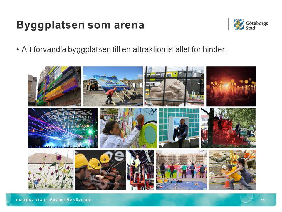 Byggplatsen som arena Att förvandla byggplatsen till en attraktion istället för hinder.
