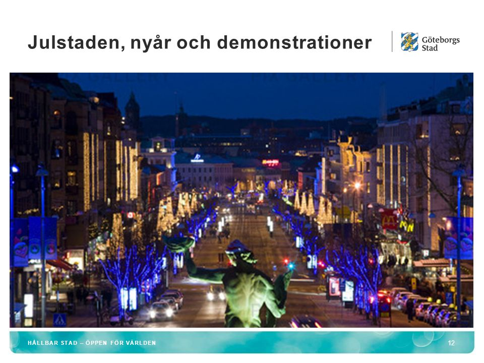 Julstaden, nyår och demonstrationer