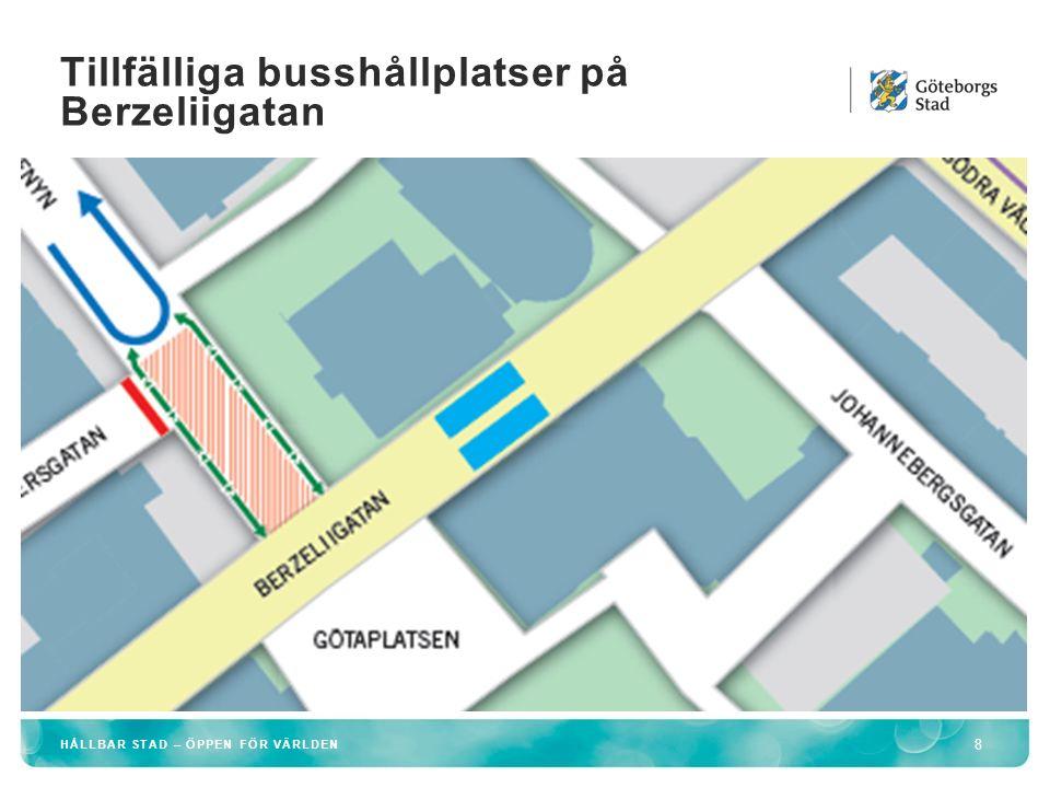 Tillfälliga busshållplatser på Berzeliigatan