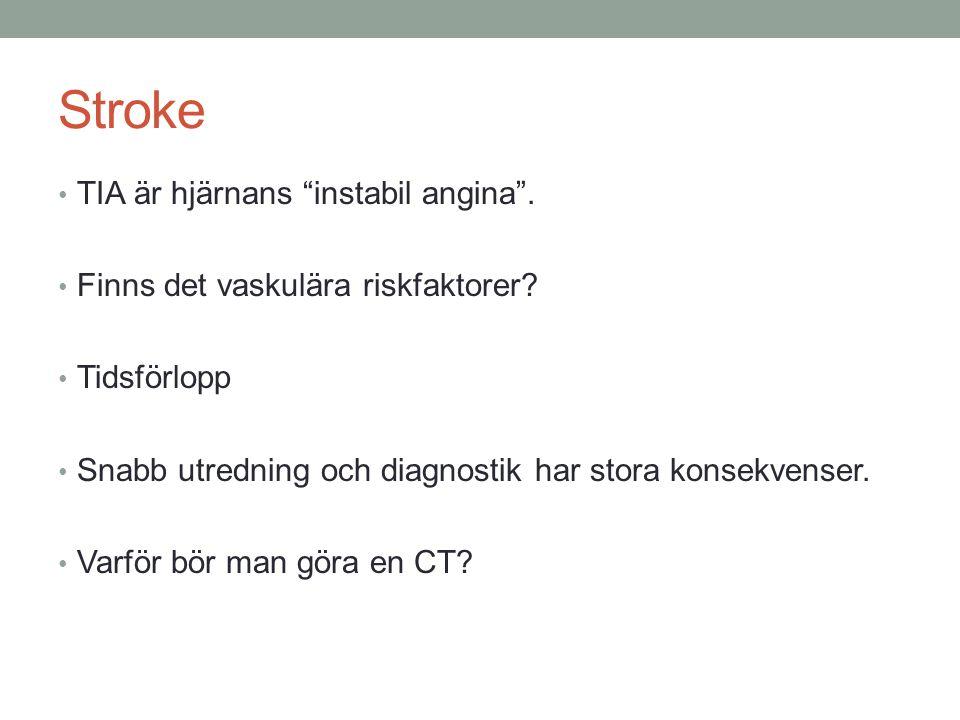 Stroke TIA är hjärnans instabil angina .