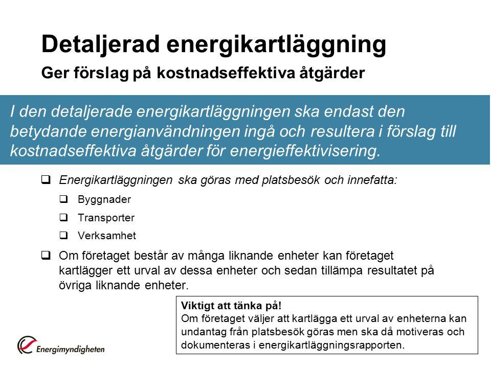 Detaljerad energikartläggning Ger förslag på kostnadseffektiva åtgärder