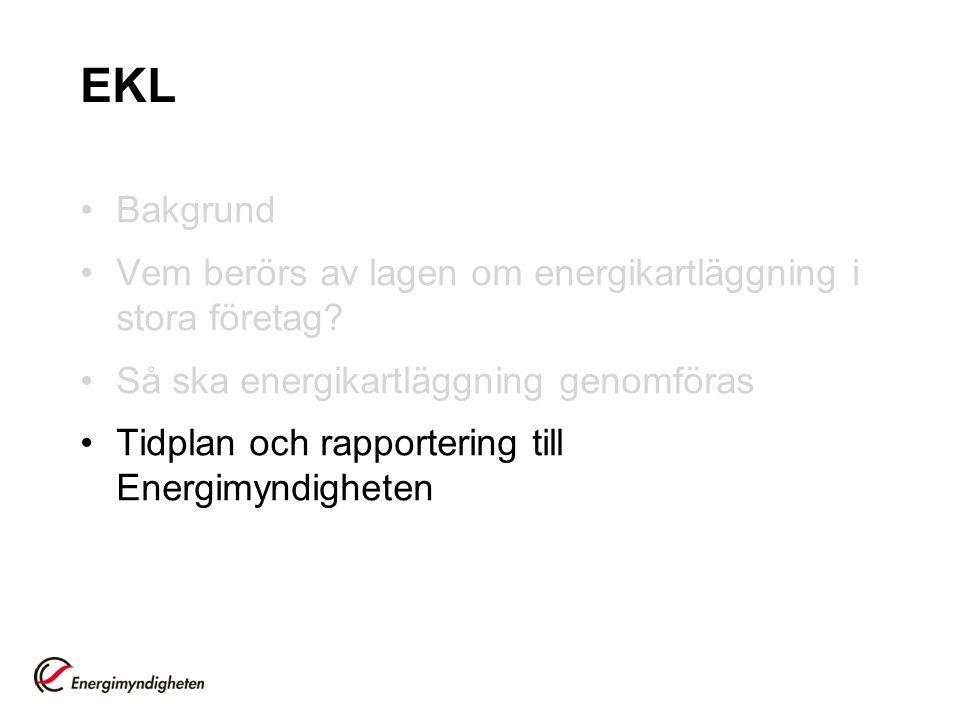 EKL Bakgrund. Vem berörs av lagen om energikartläggning i stora företag Så ska energikartläggning genomföras.