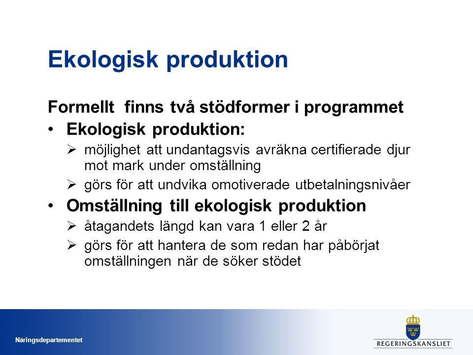 Ekologisk produktion Formellt finns två stödformer i programmet