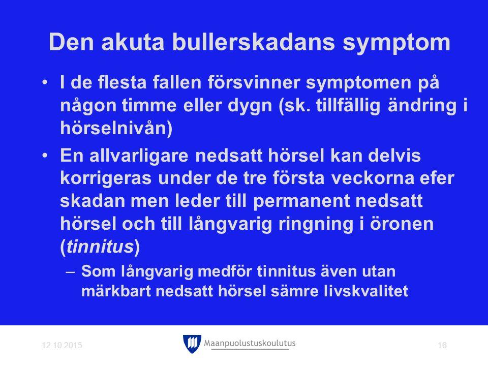 Den akuta bullerskadans symptom