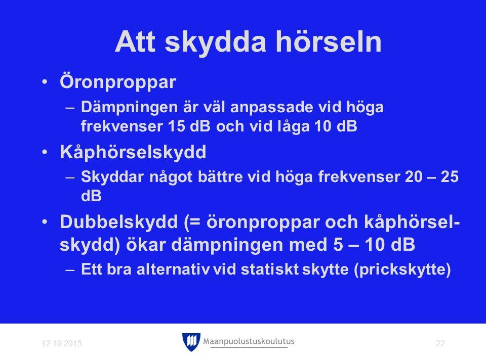 Att skydda hörseln Öronproppar Kåphörselskydd