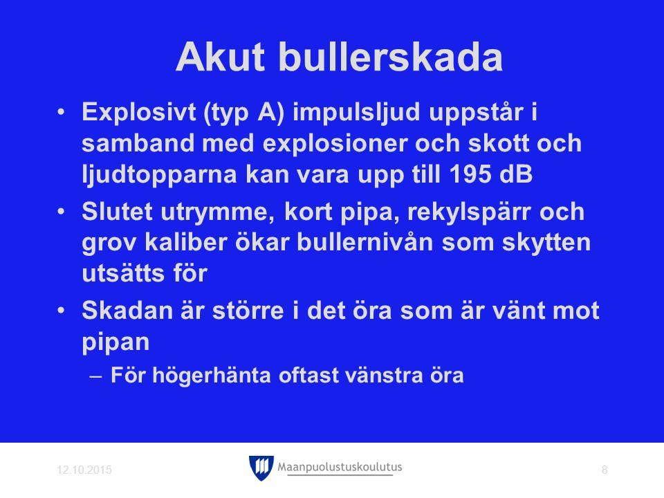 Akut bullerskada Explosivt (typ A) impulsljud uppstår i samband med explosioner och skott och ljudtopparna kan vara upp till 195 dB.