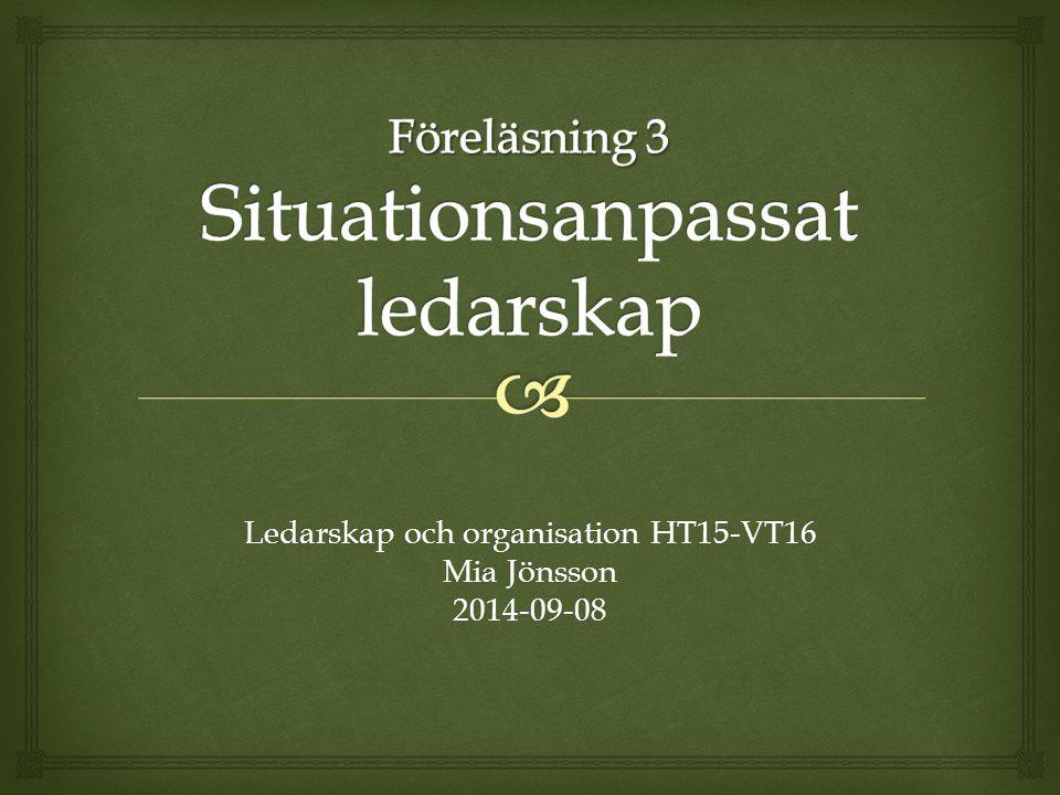 Föreläsning 3 Situationsanpassat ledarskap