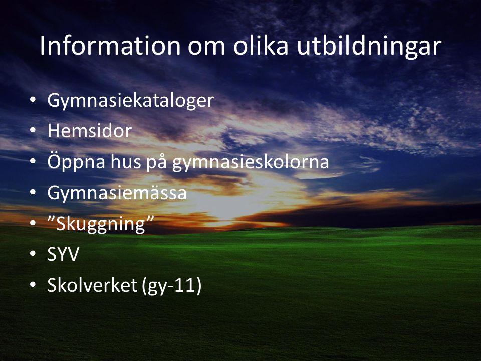 Information om olika utbildningar