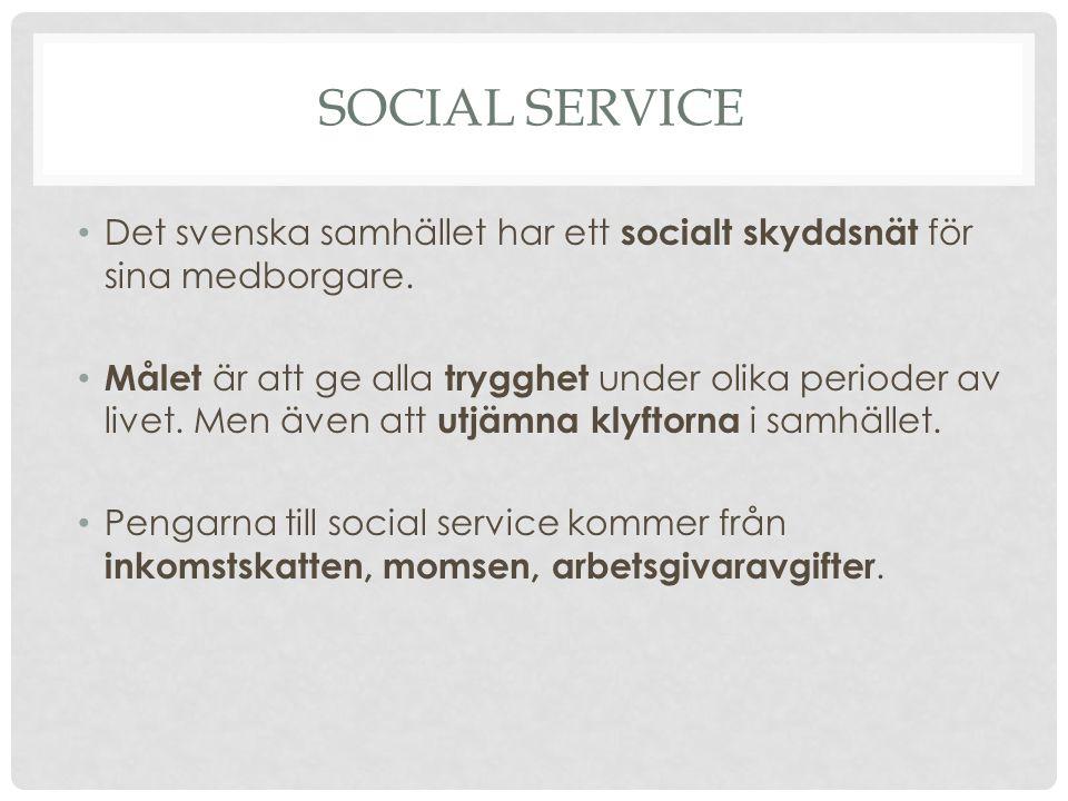 Social service Det svenska samhället har ett socialt skyddsnät för sina medborgare.