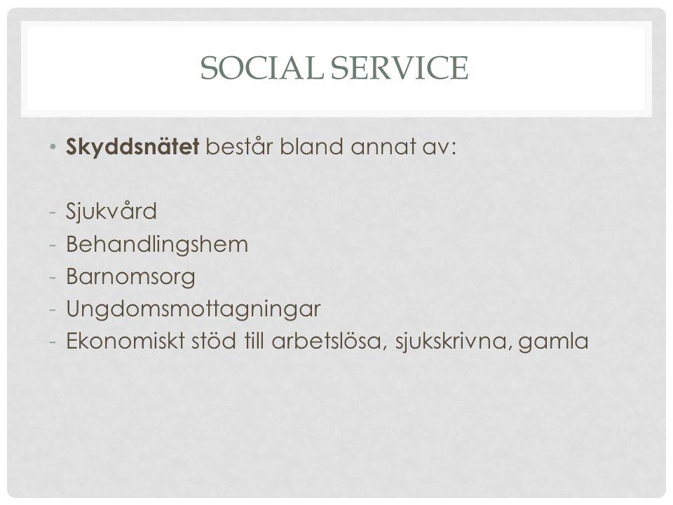 Social service Skyddsnätet består bland annat av: Sjukvård