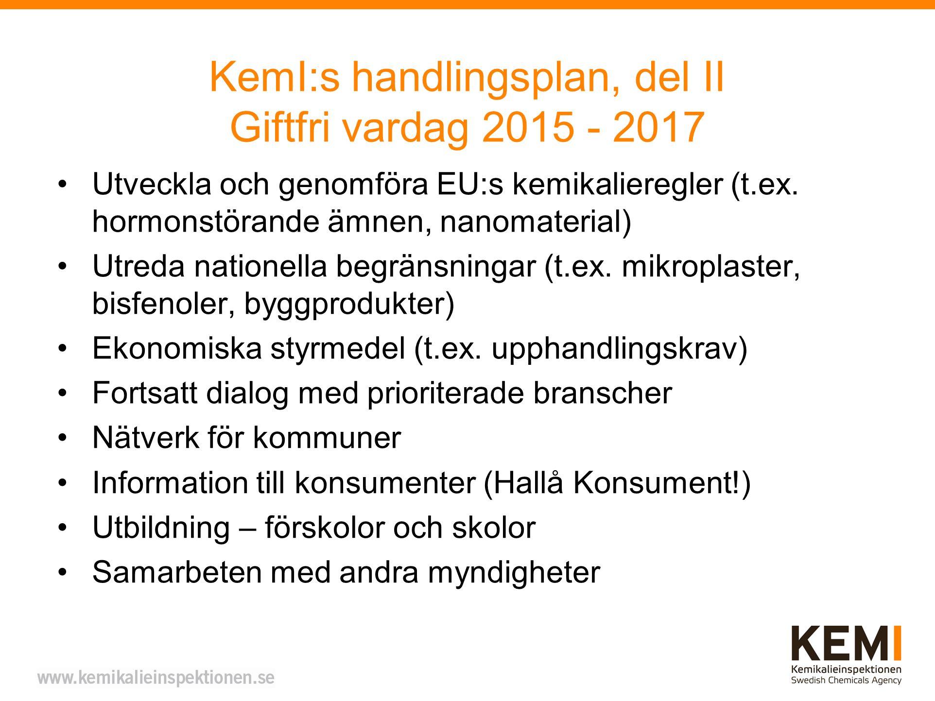 KemI:s handlingsplan, del II Giftfri vardag 2015 - 2017