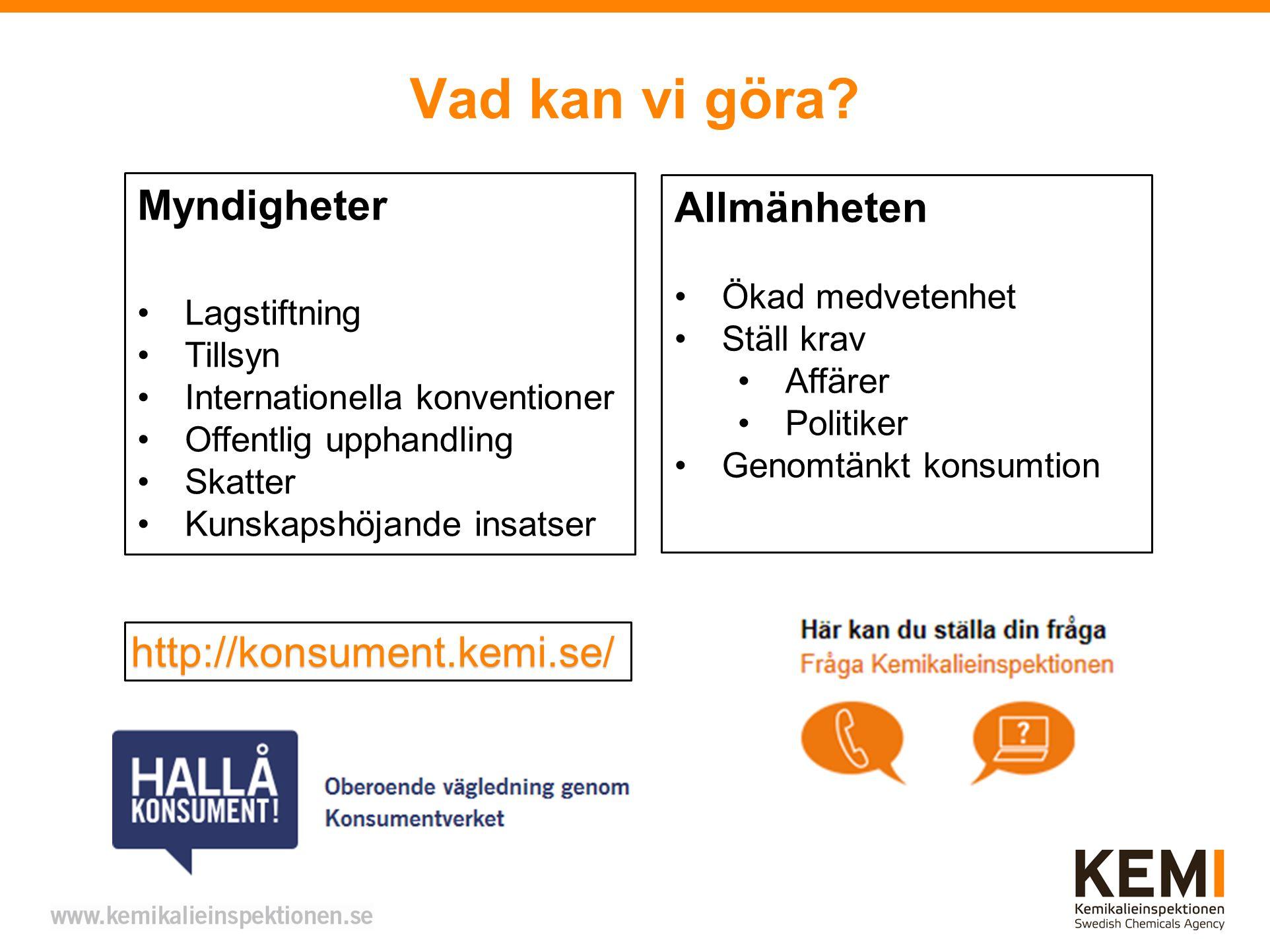 Vad kan vi göra Myndigheter Allmänheten http://konsument.kemi.se/
