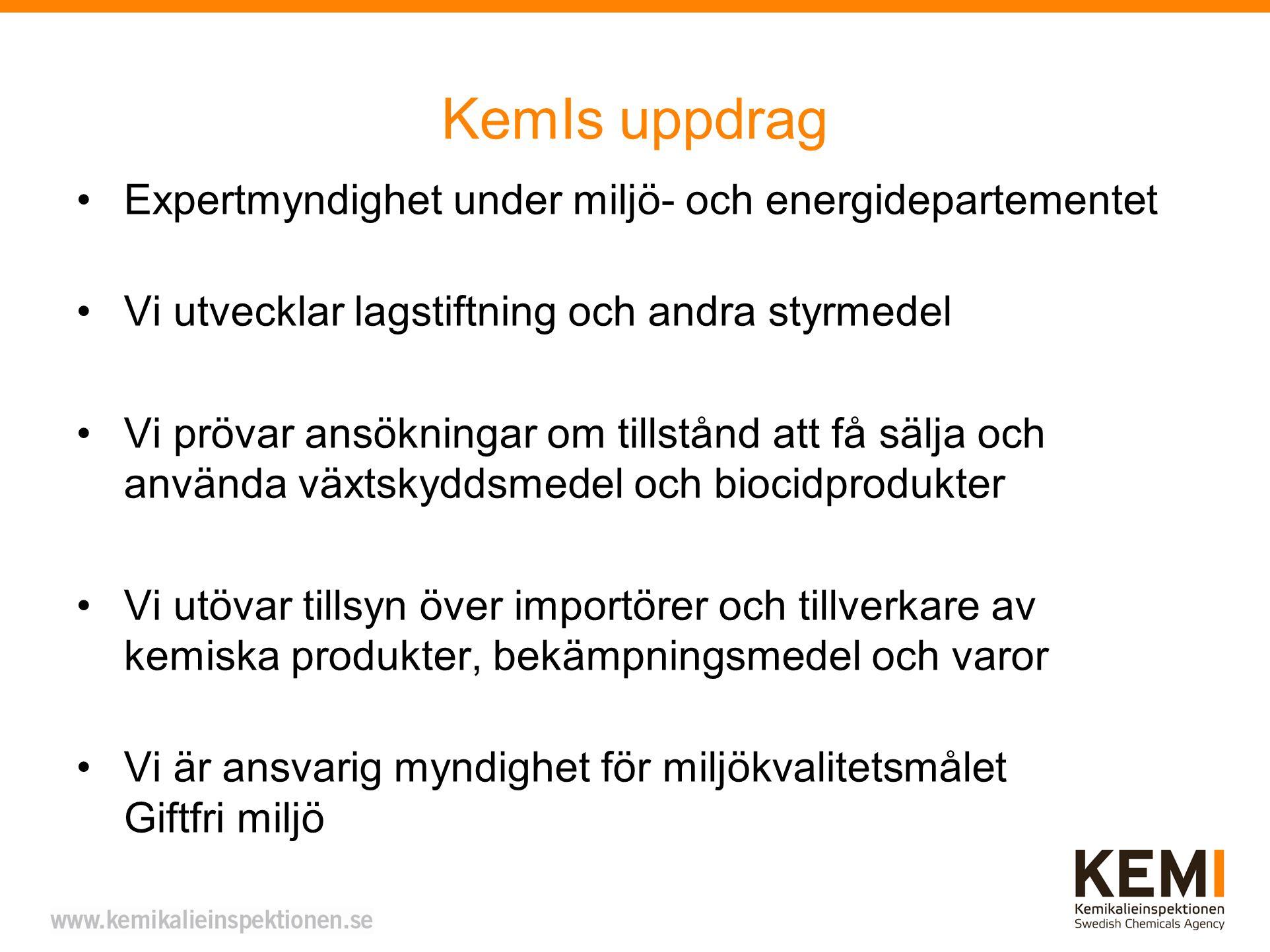 KemIs uppdrag Expertmyndighet under miljö- och energidepartementet