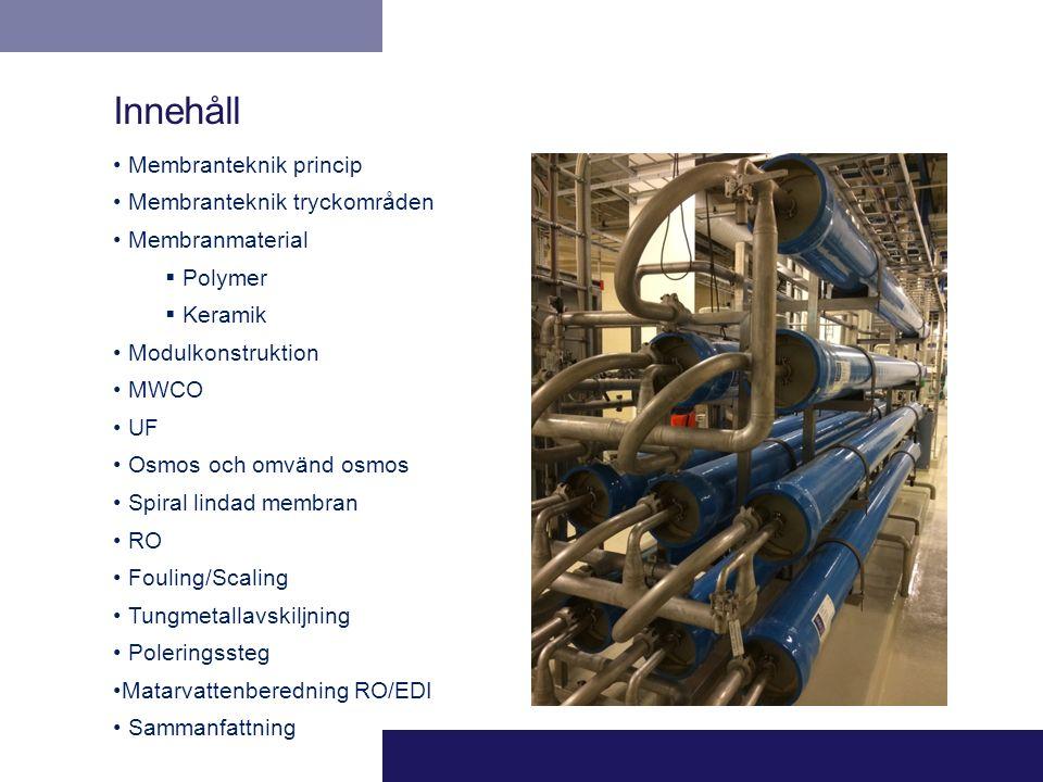 Innehåll Membranteknik princip Membranteknik tryckområden