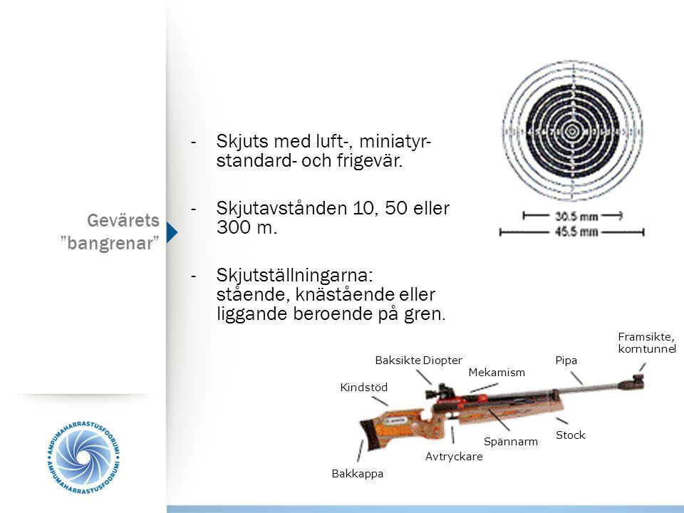 - Skjuts med luft-, miniatyr- standard- och frigevär.