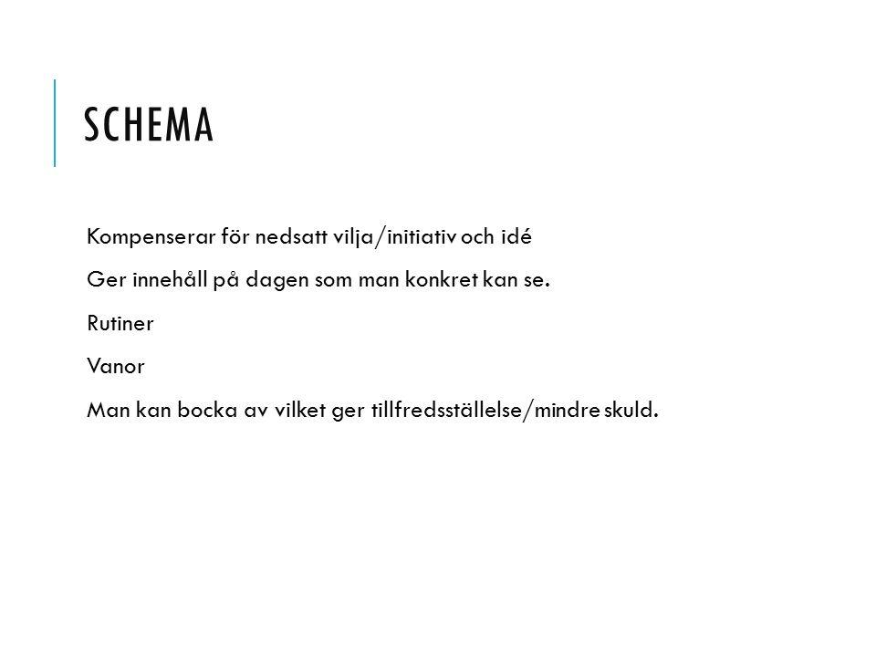Schema Kompenserar för nedsatt vilja/initiativ och idé