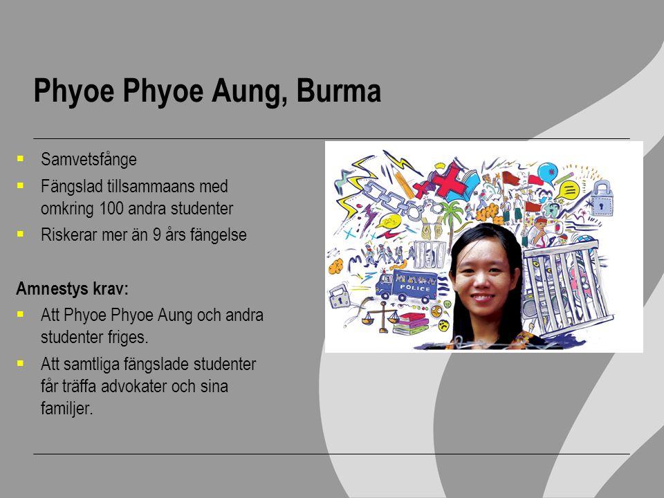 Phyoe Phyoe Aung, Burma Samvetsfånge
