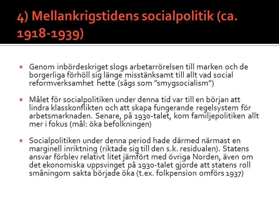 4) Mellankrigstidens socialpolitik (ca. 1918-1939)