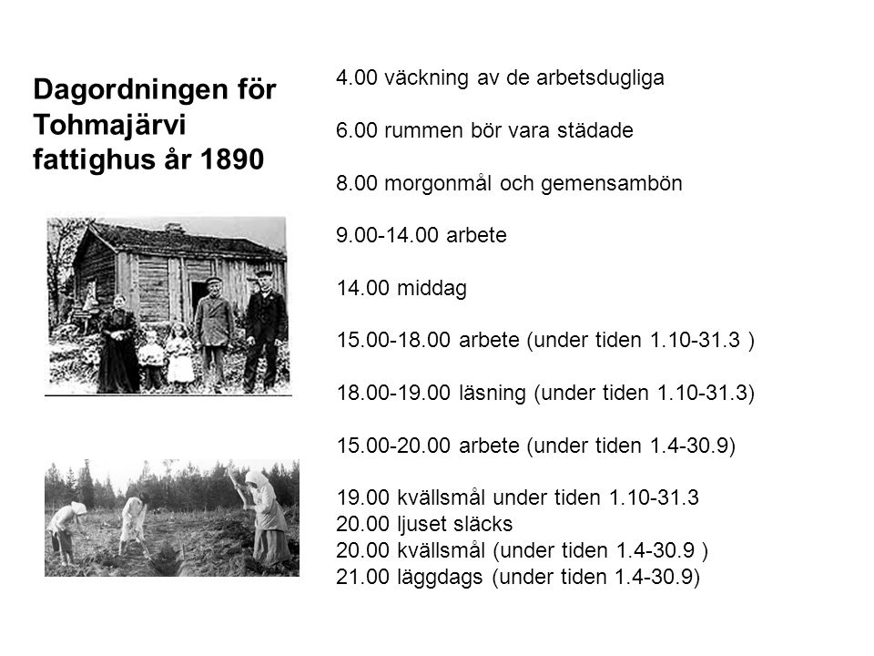 Dagordningen för Tohmajärvi fattighus år 1890