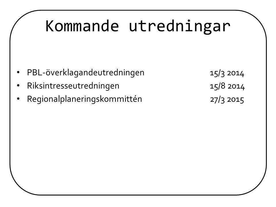 Kommande utredningar PBL-överklagandeutredningen 15/3 2014
