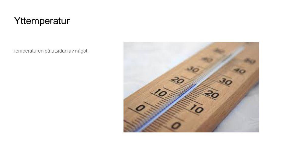 Temperaturen på utsidan av något.