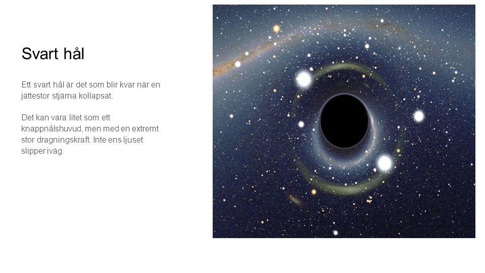 Svart hål Ett svart hål är det som blir kvar när en jättestor stjärna kollapsat.