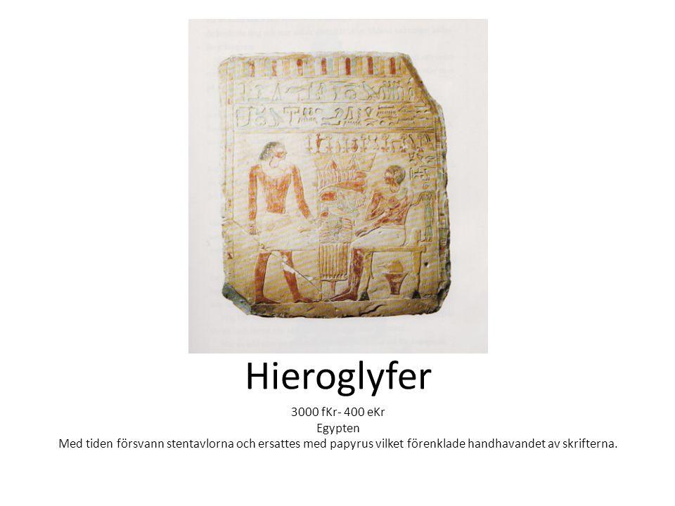 Hieroglyfer 3000 fKr- 400 eKr Egypten