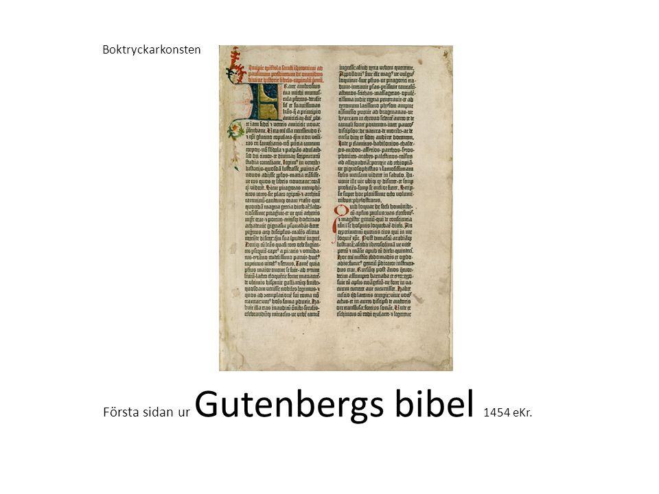 Första sidan ur Gutenbergs bibel 1454 eKr.