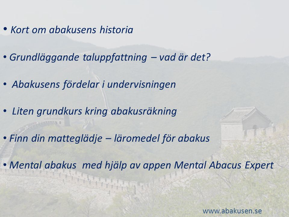 Kort om abakusens historia